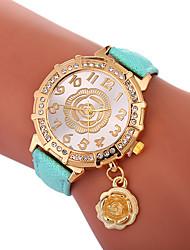 cheap -Xu™ Women's Dress Watch Wrist Watch Quartz Creative Casual Watch Lovely PU Band Analog Flower Fashion Black / White / Blue - Green Blue Golden One Year Battery Life / Imitation Diamond / Large Dial
