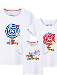 baratos -Infantil Olhar de família Sólido / Estampa Colorida / Letra Manga Curta Camiseta