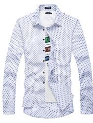 Недорогие -Муж. С принтом Рубашка Классический Горошек
