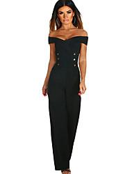 お買い得  -女性はジャンプスーツを着ている - 堅い色の広い脚のvネック