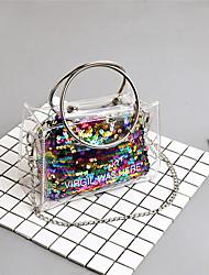 baratos -Mulheres Bolsas PVC Conjuntos de saco 2 Pcs Purse Set Lantejoulas Rosa / Arco-íris / Prateado