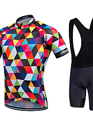 cheap -21Grams Men's / Women's Short Sleeve Cycling Jersey with Bib Shorts - Rainbow Bike Bib Shorts / Jersey / Bib Tights, 3D Pad, Quick Dry, Breathable Polyester, Lycra / Stretchy / Sweat-wicking
