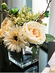 baratos -Flores artificiais 6 Ramo Clássico Europeu / buquês de Noiva Rosas / Plantas Flor de Mesa