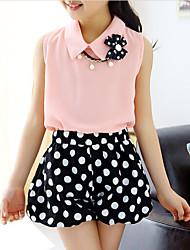 cheap -Kids Girls' Active Polka Dot Sleeveless Cotton Clothing Set