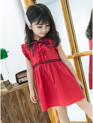 cheap -Kids Girls' Black & Red Solid Colored Sleeveless Dress