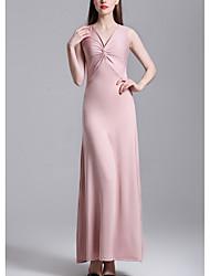 baratos -Mulheres Delgado Evasê Vestido Decote V Longo