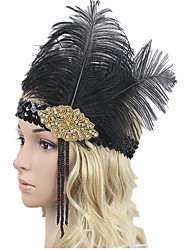 abordables -Gatsby le magnifique Rétro Années 20 Costume Femme Bandeau Garçonne Coiffure noir +Doré Vintage Cosplay Plume Sans Manches Déguisement d'Halloween