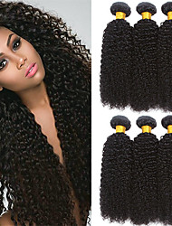 cheap -Indian Hair Curly Natural Color Hair Weaves / Extension / Bundle Hair 6 Bundles 8-28 inch Human Hair Weaves Machine Made / Capless Best Quality / Hot Sale / For Black Women Natural Black Human Hair