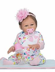 Недорогие -NPKCOLLECTION Куклы реборн Девочки 22 дюймовый Полный силикон для тела Винил - Искусственная имплантация Коричневые глаза Детские Девочки Игрушки Подарок