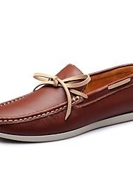 abordables -Hombre Cuero Verano Confort Calzado de Barco Marrón / Azul Real