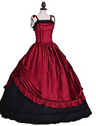 cheap -Rococo / Victorian Costume Women's Dress / Masquerade Red+Black Vintage Cosplay Silk Like Satin Sleeveless Halloween Costumes