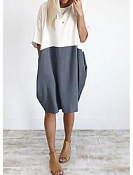 abordables -Femme Coton Ample Tunique Robe Mi-long
