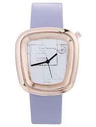 abordables -Xu™ Mujer Reloj de Vestir / Reloj de Pulsera Chino Creativo / Reloj Casual / Encantador PU Banda Moda / Reloj con palabras Negro / Blanco / Marrón / Esfera Grande / Un año