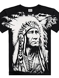 abordables -Tee-shirt Homme, Couleur Pleine / Portrait / Tribal Imprimé Bohème