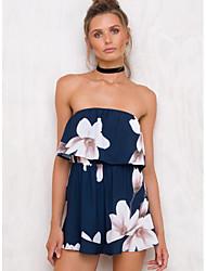 お買い得  -女性の外出/ビーチロンパー - 花の広い脚のボートネック