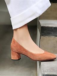 abordables -Mujer Zapatos Piel de Oveja Primavera verano Confort Tacones Tacón Cuadrado Dedo Puntiagudo Negro / Marrón / Verde