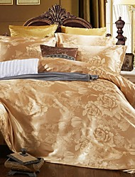 cheap -Duvet Cover Sets Luxury Silk / Cotton Blend Jacquard 4 Piece / 4pcs (1 Duvet Cover, 1 Flat Sheet, 2 Shams)