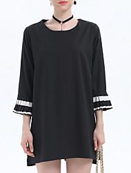 billige -Dame Basale T Shirt Kjole - Farveblok Mini