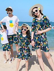 cheap -Kids Family Look Pineapple Floral / Fruit Short Sleeve Clothing Set