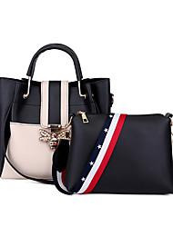 baratos -Mulheres Bolsas PU Conjuntos de saco 2 Pcs Purse Set Botões Preto / Vermelho / Rosa