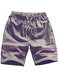 povoljno -muške plus veličine pamuka labav chinos / kratke hlače - prugasta