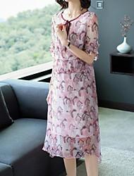 preiswerte -Damen Grundlegend Hülle Kleid Blumen Midi