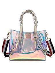 baratos -Mulheres Bolsas PVC / PU Conjuntos de saco 2 Pcs Purse Set Ziper Branco / Preto / Rosa