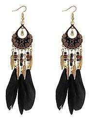 abordables -Mujer Largo Pendientes colgantes - Pluma Vintage, Étnico, Moda Arco Iris / Rojo / Azul Para Fiesta / Noche / Fiesta de baile