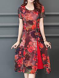 preiswerte -Damen Retro / Anspruchsvoll Hülle Kleid - Druck Midi