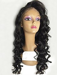 cheap -Remy Human Hair Full Lace Wig Brazilian Hair Wavy Wig Layered Haircut 130% With Baby Hair / For Black Women / 100% Hand Tied Black Women's Short / Long / Mid Length Human Hair Lace Wig