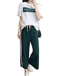 abordables -Mujer Camiseta de running con pantalones - Verde Deportes Letra y Número Mangas cortas Ropa de Deporte Transpirabilidad, Suavidad Elástico