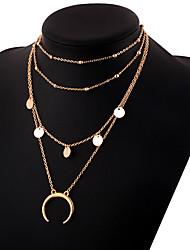economico -Per donna A strati Collane Layered - MOON Semplice, Elegante Oro, Argento 30 cm Collana Gioielli 1pc Per Quotidiano