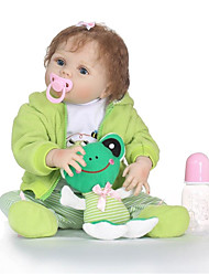 abordables -NPKCOLLECTION Poupées Reborn Bébés Fille 24 pouce Silicone complet / Vinyle - réaliste, Implantation artificielle Yeux bleus Pour enfants Fille Cadeau