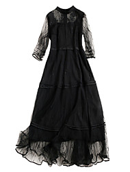 cheap -Women's Basic Swing Dress - Solid Colored Lace / Mesh / Patchwork