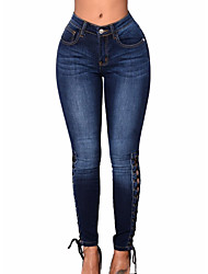 cheap -Women's Cotton Skinny Jeans Pants - Solid Colored High Waist / Going out