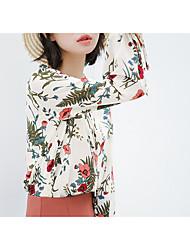 baratos -Mulheres Blusa Laço / Cordões / Estampado, Sólido / Floral / Arco-Íris