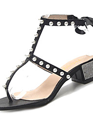 cheap -Women's Shoes PU(Polyurethane) Spring & Summer Ankle Strap Sandals Chunky Heel Imitation Pearl Black / Silver