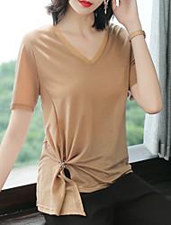 billige -Dame - Ensfarvet Vintage / Basale T-shirt