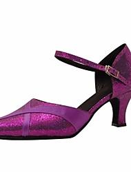cheap -Women's Modern Shoes PU(Polyurethane) Heel Slim High Heel Dance Shoes Silver / Purple / Performance / Practice