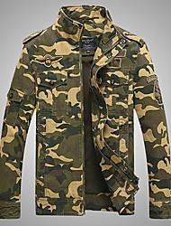 cheap -Men's Military Jacket - Color Block, Print