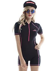 cheap -SBART Women's Rash Guard Dive Skin Suit UV Sun Protection, Anti-Eradiation, Wearable Chinlon / Elastane Short Sleeve Swimwear Beach Wear Sun Shirt Solid Colored Front Zip Swimming / Diving