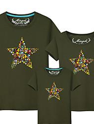 baratos -Infantil Olhar de família Estampa Colorida Manga Curta Camiseta