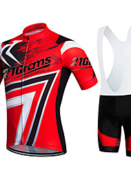 cheap -21Grams Men's / Women's Short Sleeve Cycling Jersey with Bib Shorts - Red Bike Clothing Suit, 3D Pad, Quick Dry, Breathable Polyester, Lycra / Stretchy / Sweat-wicking
