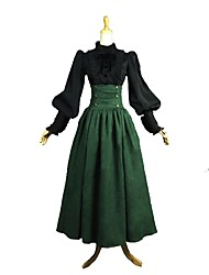 cheap -Rococo / Victorian Costume Women's Outfits Green / Black Vintage Cosplay 50% Cotton / 50% Polyester Long Sleeve Juliet Sleeve Halloween Costumes