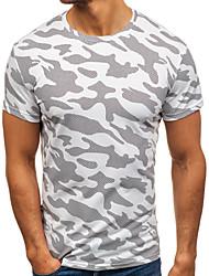 baratos -Homens Tamanhos Grandes Camiseta camuflagem Algodão Decote Redondo / Manga Curta
