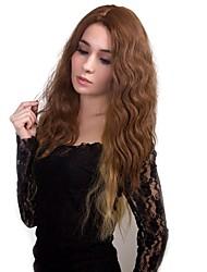 abordables -Perruque Synthétique Mat Partie médiane Cheveux Synthétiques 100% cheveux kanekalon Noir Perruque Femme Long Sans bonnet