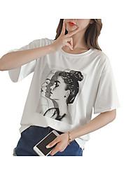 cheap -Women's T-shirt - Solid Colored / Portrait Print
