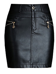 preiswerte -Damen Ausgehen Kunstleder Mini Bodycon Röcke - Solide Hohe Taillenlinie