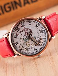 baratos -Mulheres Relógio de Pulso Quartzo Relógio Casual Couro Banda Analógico Fashion Padrão Mapa do Mundo Preta / Vermelho / Marrom - Preto Claro Marron Vermelho