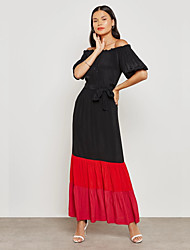 cheap -BENEVOGA Women's Street chic / Sophisticated Sheath Dress - Color Block Black & Red, Ruched / Patchwork